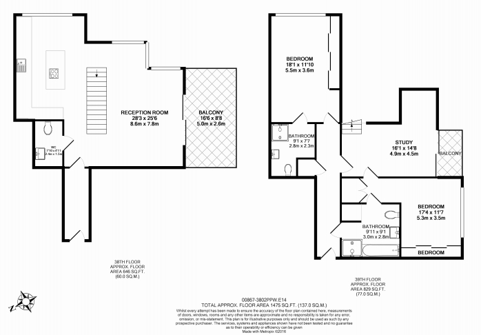 2 bedroom(s) flat to rent in Pan Peninsula, Canary Wharf, E14-Floorplan