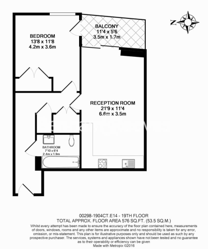 1 bedroom(s) flat to rent in Biscayne Avenue, Canary Wharf, E14-Floorplan