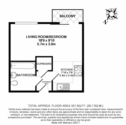 Studio flat to rent in St Annes Street, Canary Wharf, E14-Floorplan