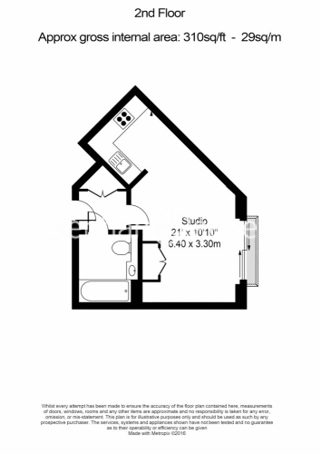 Studio flat to rent in St Anne's Street, Canary Wharf, E14-Floorplan