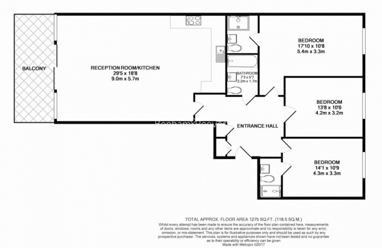 3 bedroom(s) flat to rent in Marmara Apartments, Canary Wharf, E16-Floorplan