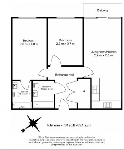 2 bedroom(s) flat to rent in Yeo Street, Canary Wharf, E3-Floorplan