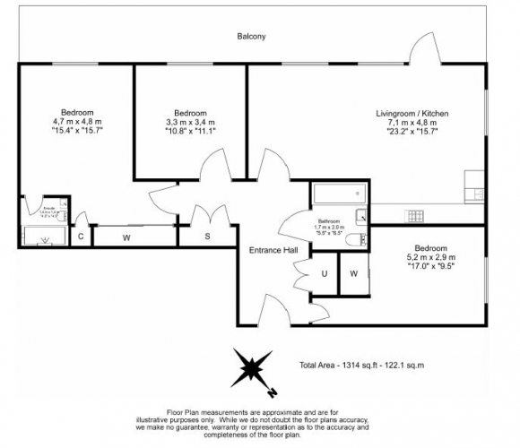 3 bedroom(s) flat to rent in Streamlight Tower, Province Square, E14-Floorplan
