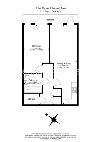 1 bedroom(s) flat to rent in 2 Shipbuilding Way, Canary Wharf E13-Floorplan