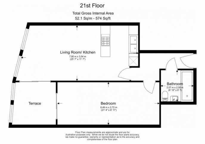 1 bedroom(s) flat to rent in Unex Tower, Station Street, E15-Floorplan