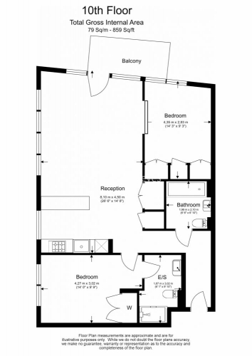 2 bedroom(s) flat to rent in Lyell Street, Canary Wharf, E14-Floorplan
