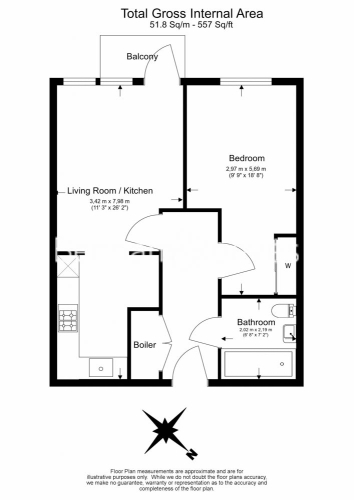 1 bedroom(s) flat to rent in Southmere House, Highland Street, E15-Floorplan