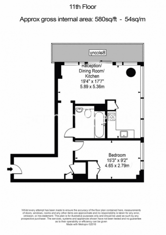 1 bedroom(s) flat to rent in Landmark East Tower, Canary Wharf, E14-Floorplan