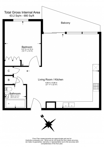 1 bedroom(s) flat to rent in Royal Crest Avenue, Canary Wharf, E16-Floorplan