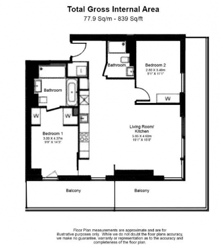 2 bedroom(s) flat to rent in Bagshaw Tower, Wardian Canary Wharf, E14-Floorplan