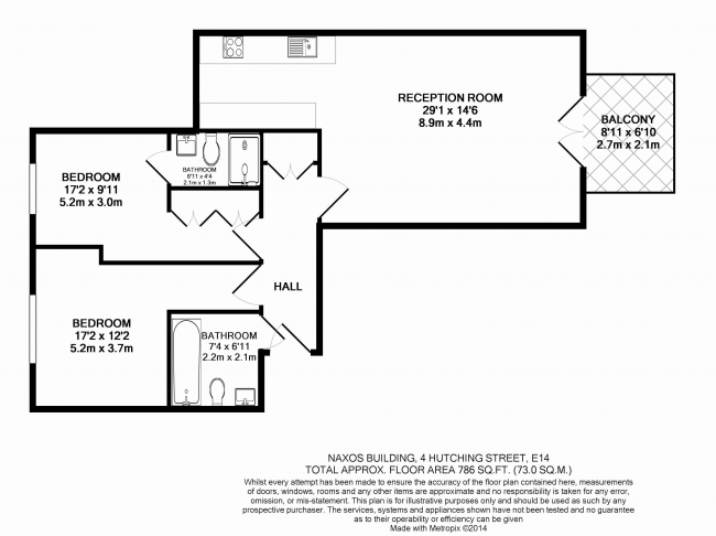 2 bedroom(s) flat to rent in Naxos Building, Canary Wharf, E14-Floorplan