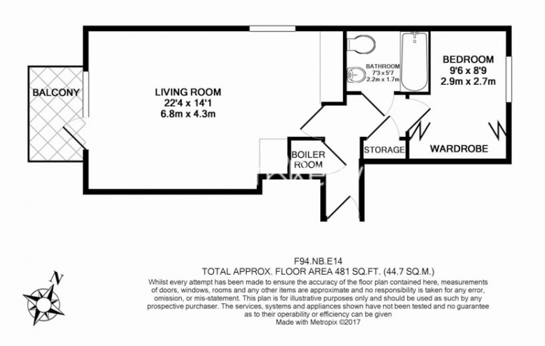 1 bedroom(s) flat to rent in Hutchings Street, Canary Wharf, E14-Floorplan