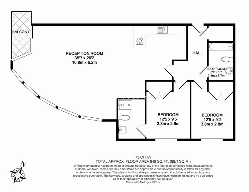 2 bedroom(s) flat to rent in Townmead Road, Fulham, SW6-Floorplan
