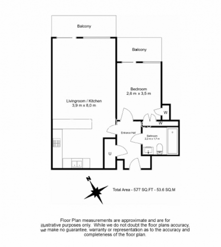 1 bedroom(s) flat to rent in Imperial Wharf, Fulham, SW6-Floorplan