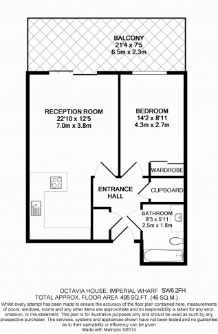 1 bedroom(s) flat to rent in Octavia House, Imperial Wharf, SW6-Floorplan