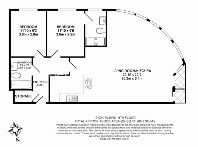 2 bedroom(s) flat to rent in Fulham, Imperial Wharf, SW6-Floorplan