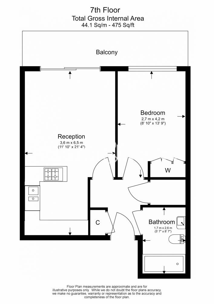 1 bedroom(s) flat to rent in Townmead Road, Fulham, SW6-Floorplan
