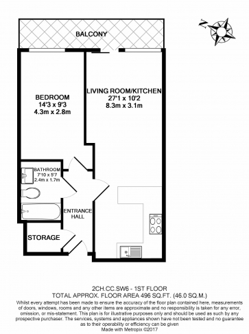 1 bedroom(s) flat to rent in Chelsea Creek, Fulham, SW6-Floorplan