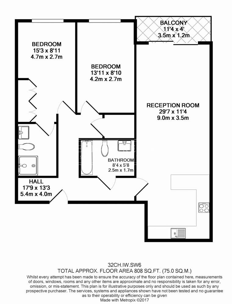 2 bedroom(s) flat to rent in Compass House, Chelsea Creek, SW6-Floorplan