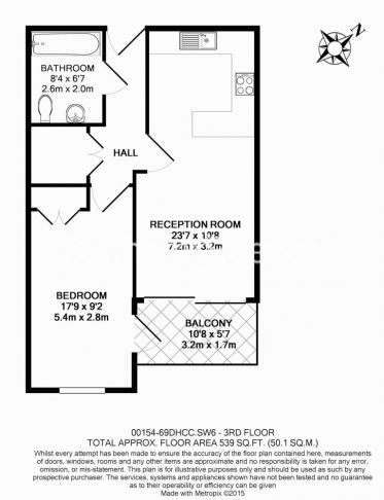 1 bedroom(s) flat to rent in Doulton House, Chelsea Creek, Park Street, SW6-Floorplan