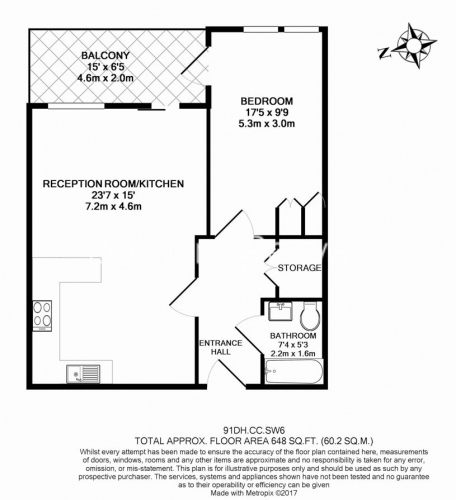 1 bedroom(s) flat to rent in Doulton House, Chelsea Creek, SW6-Floorplan