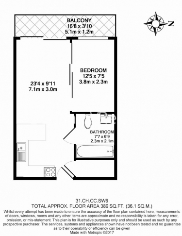 Studio flat to rent in Park Street, Fulham, SW6-Floorplan