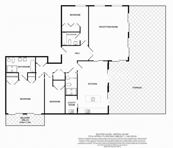 3 bedroom(s) flat to rent in Boxtree House, Imperial Wharf, SW6-Floorplan