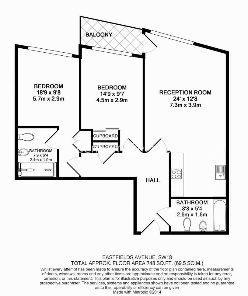 2 bedroom(s) flat to rent in Riverside Quarter, Wandsworth Park, SW18-Floorplan
