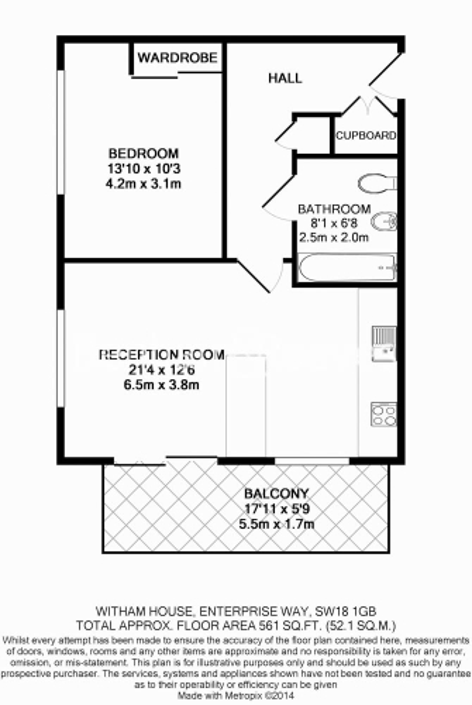 1 bedroom(s) flat to rent in Enterprise Way, Imperial Wharf, SW18-Floorplan