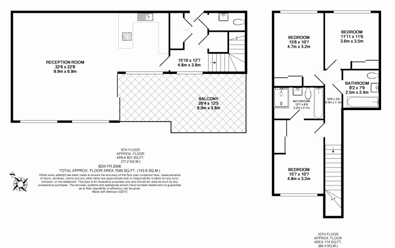 3 bedroom(s) flat to rent in Central Avenue, Fulham, SW6-Floorplan