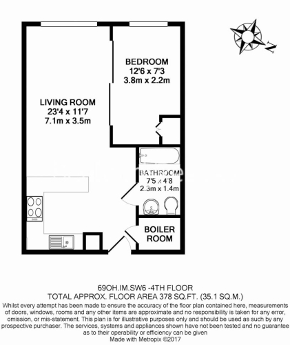 Studio flat to rent in Townmead Road, Imperial Wharf, SW6-Floorplan
