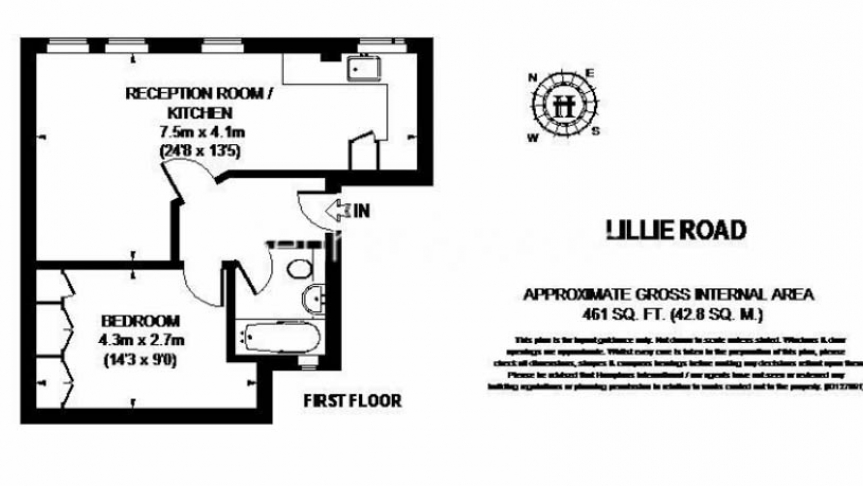 1 bedroom(s) flat to rent in Lillie Road, Fulham, SW6-Floorplan