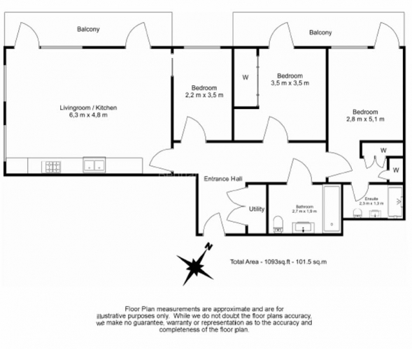 3 bedroom(s) flat to rent in Ram Quarter, Wandsworth, SW18-Floorplan