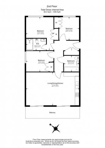 3 bedroom(s) flat to rent in Wandsworth, Imperial Wharf, SW18-Floorplan