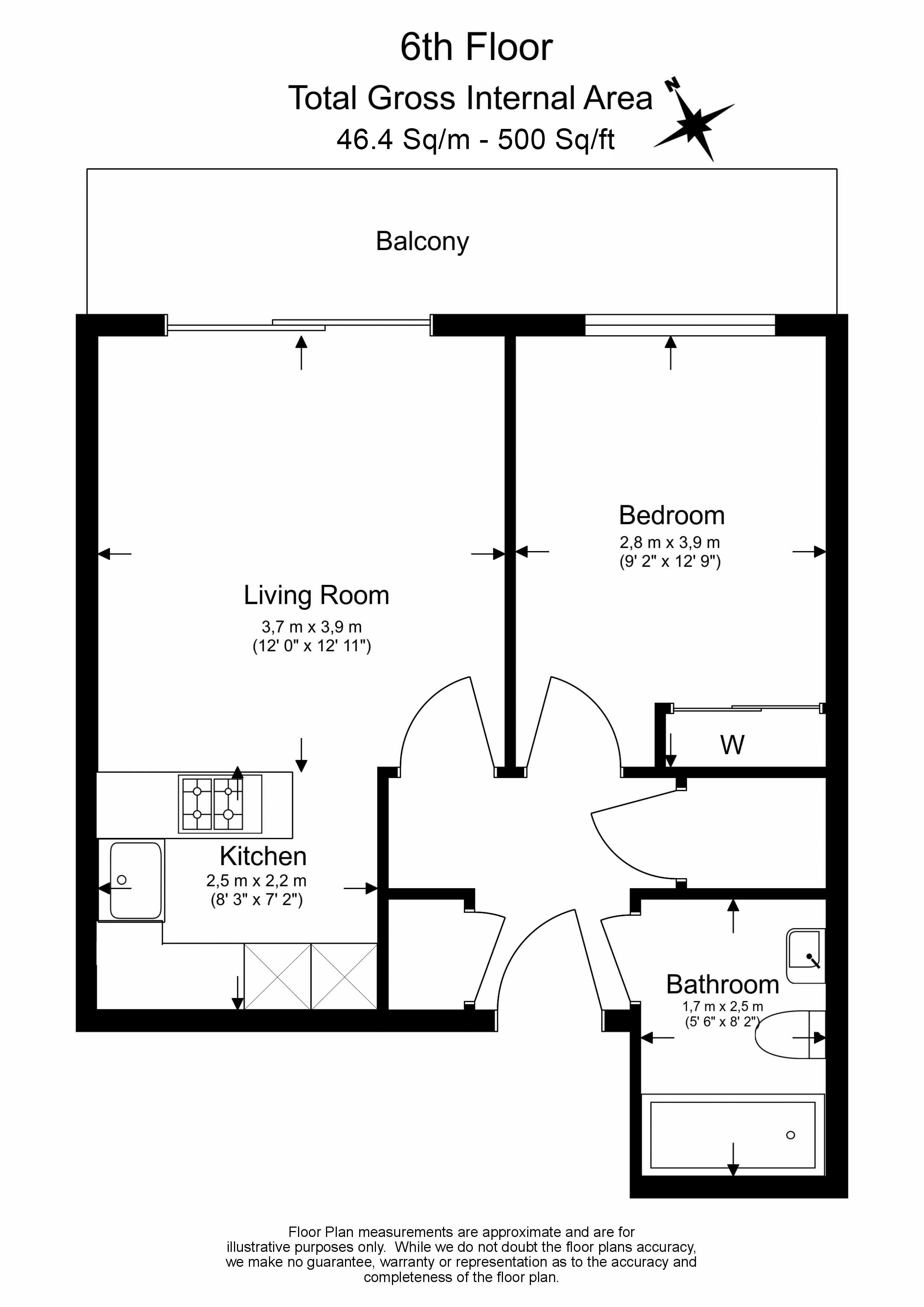 1 bedroom(s) flat to rent in Townmead Road,Fulham ,SW6-Floorplan