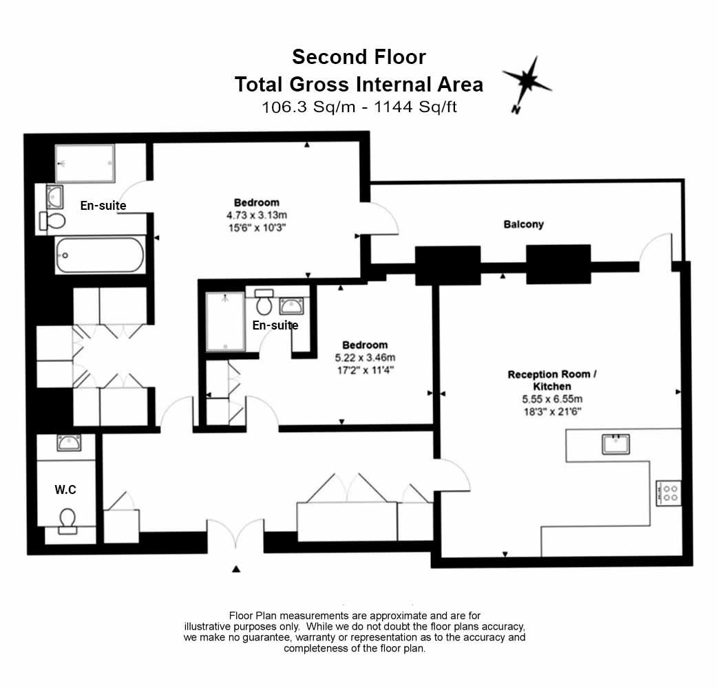 2 bedroom(s) flat to rent in Farm Lane, Fulham, SW6-Floorplan