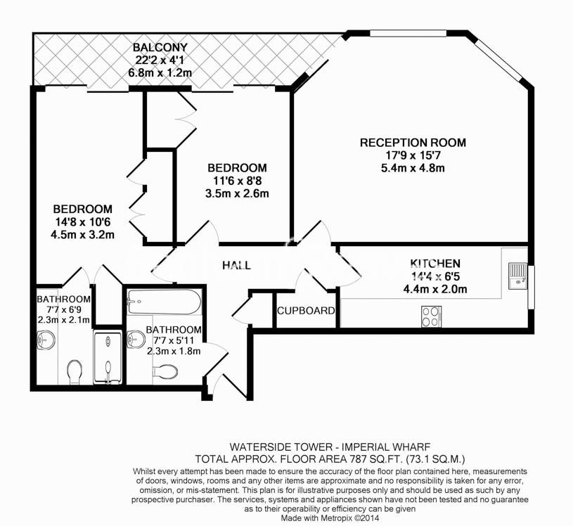 2 bedroom(s) flat to rent in The Boulevard, Fulham, SW6-Floorplan