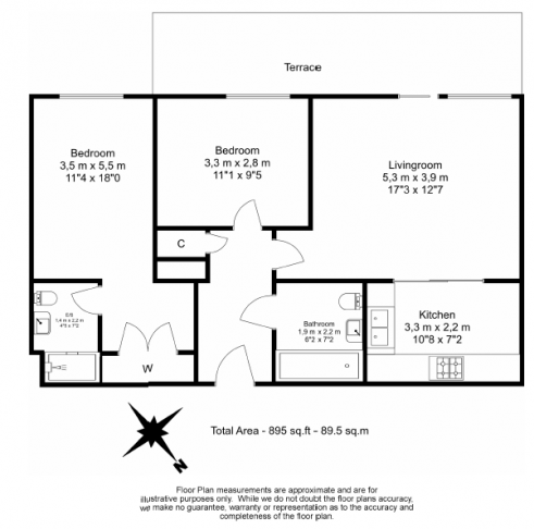 2 bedroom(s) flat to rent in Aspect court, Imperial Wharf, SW6-Floorplan