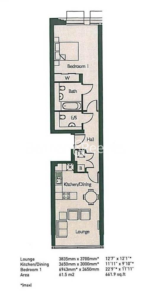 1 bedroom(s) flat to rent in Highbury Stadium Square, Highbury, N5-Floorplan
