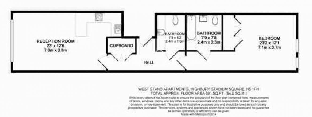 1 bedroom(s) flat to rent in Highbury Stadium Square, Highbury, N5-Floorplan