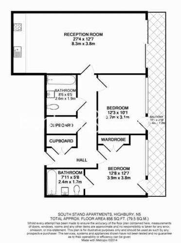 2 bedroom(s) flat to rent in Highbury Stadium Square, Highbury, N5-Floorplan