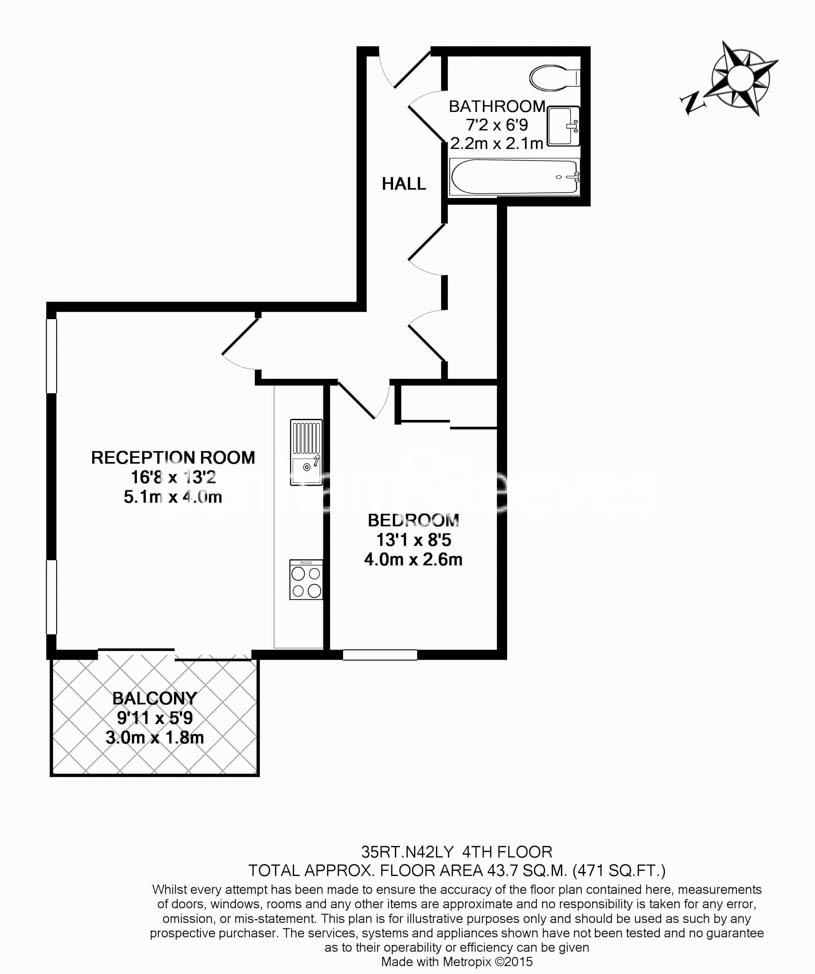 1 bedroom(s) flat to rent in Woodberry Grove, Finsbury Park, N4-Floorplan