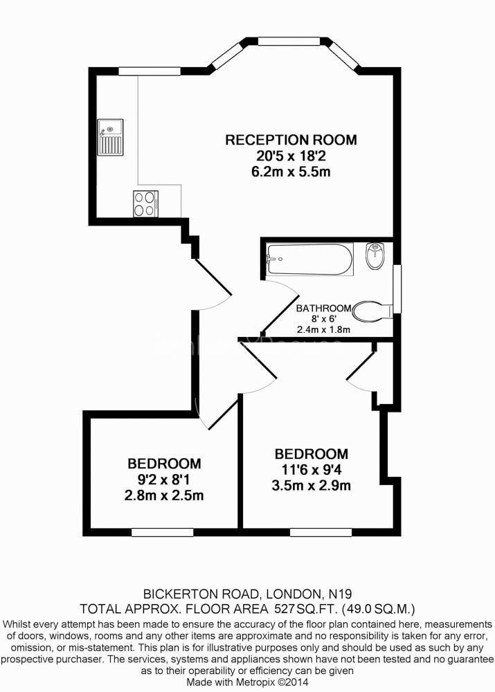 2 bedroom(s) flat to rent in Bickerton Road, Archway, N19-Floorplan