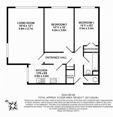 2 bedroom(s) flat to rent in Alford House, Stanhope Road, N6-Floorplan