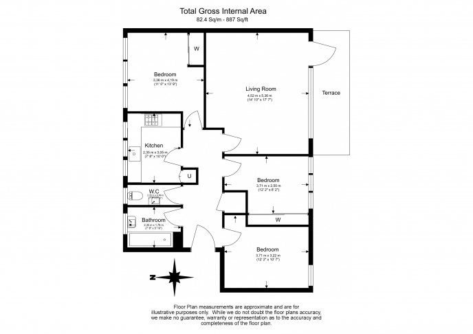 3 bedroom(s) flat to rent in Shepherds Hill, Highgate, N6-Floorplan