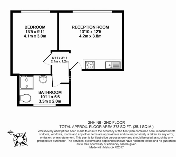 1 bedroom(s) flat to rent in Highgate West Hill, Highgate, N6-Floorplan
