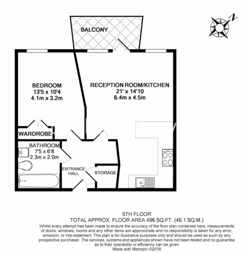 1 bedroom(s) flat to rent in Garand Court, Eden Grove, N7-Floorplan