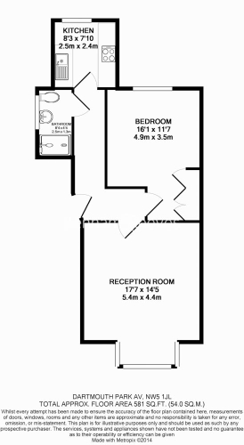1 bedroom(s) flat to rent in Dartmouth Park Avenue, Dartmouth Park, NW5-Floorplan