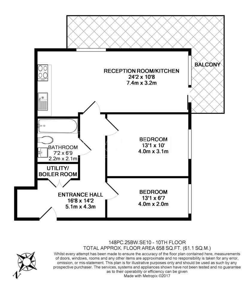 2 bedroom(s) flat to rent in Barge Walk, Woolwich, SE10-Floorplan