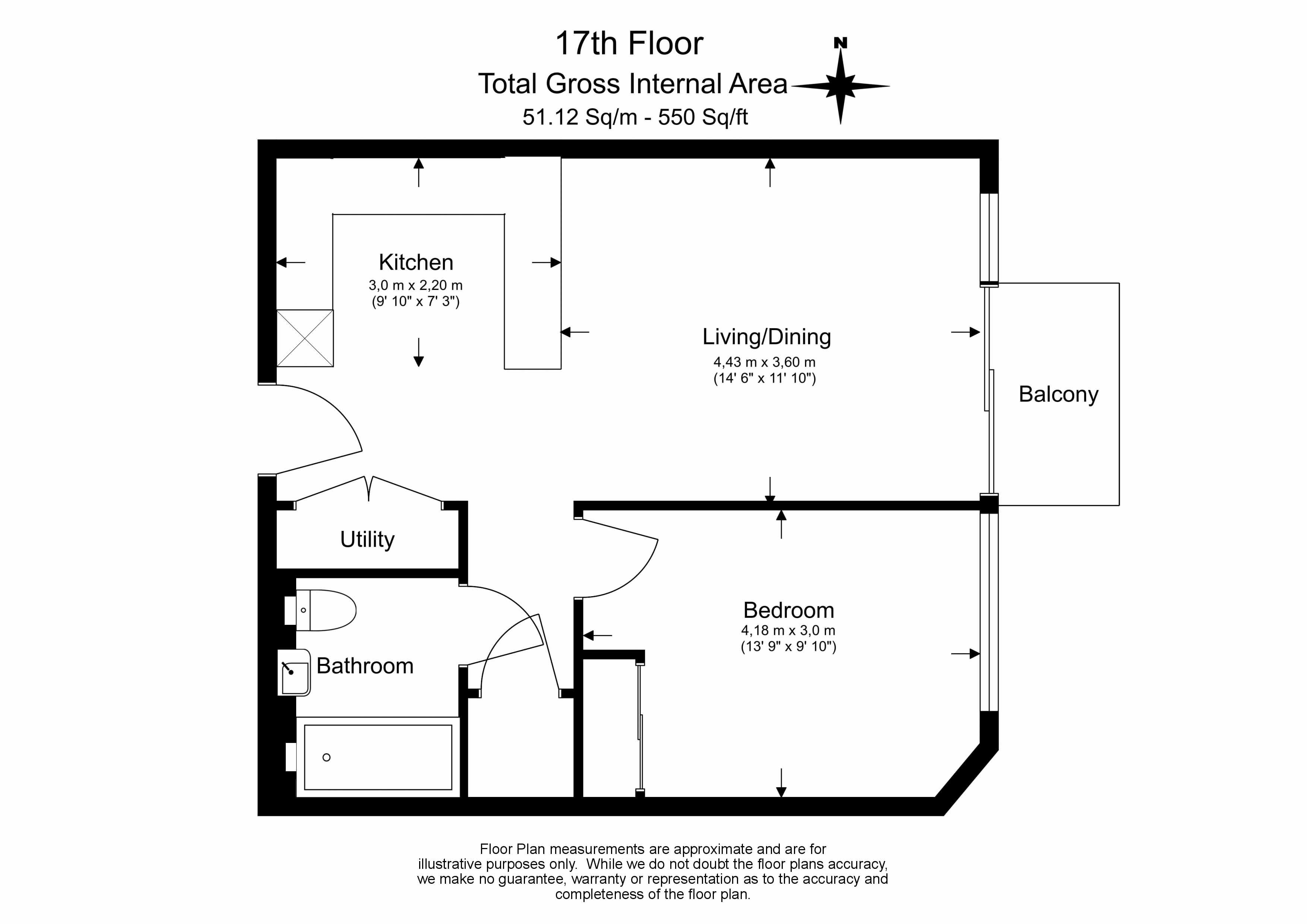 1 bedroom(s) flat to rent in Duke of Wellington Avenue, Woolwich, SE18-Floorplan